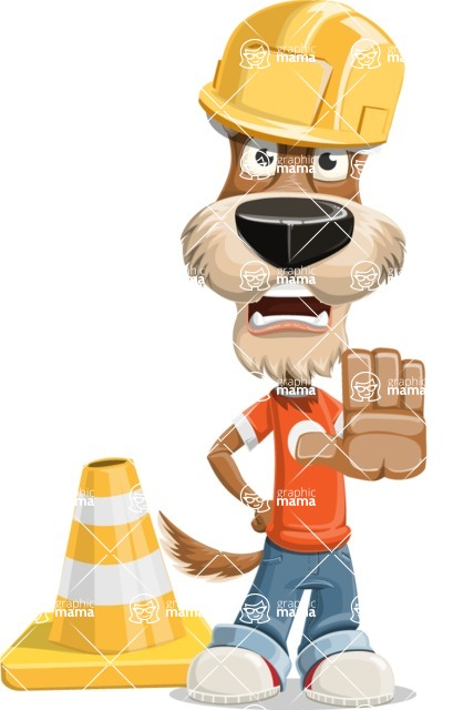 Dressed Dog Cartoon Vector Character AKA Sparky Jones - Under Construction 1