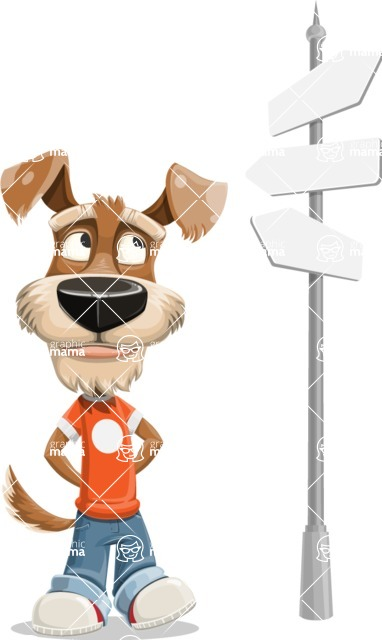 Dressed Dog Cartoon Vector Character AKA Sparky Jones - Crossroad