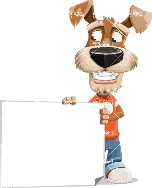Dressed Dog Cartoon Vector Character AKA Sparky Jones - Sign 3