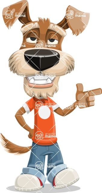 Dressed Dog Cartoon Vector Character AKA Sparky Jones - Point