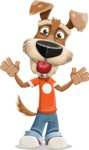 Dressed Dog Cartoon Vector Character AKA Sparky Jones - Making Face