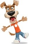 Dressed Dog Cartoon Vector Character AKA Sparky Jones - Wave