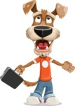 Dressed Dog Cartoon Vector Character AKA Sparky Jones - Briefcase 1