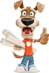 Dressed Dog Cartoon Vector Character AKA Sparky Jones - Plans