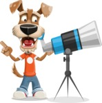 Dressed Dog Cartoon Vector Character AKA Sparky Jones - Telescope