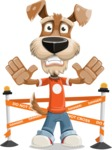 Dressed Dog Cartoon Vector Character AKA Sparky Jones - Under Construction 2