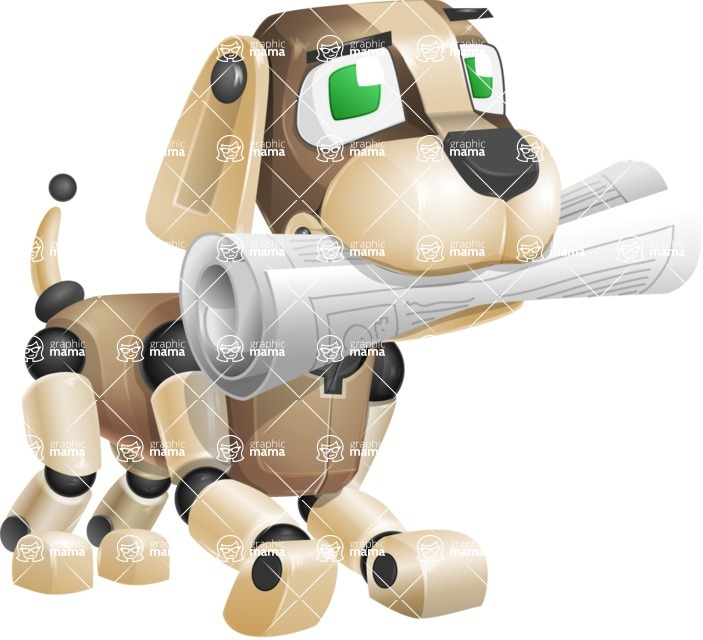 Futuristic Robot Dog Cartoon Vector Character AKA Barkey McRobot - Newspaper