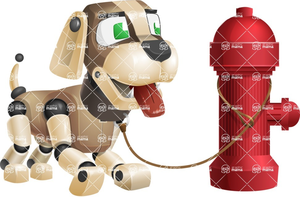 Futuristic Robot Dog Cartoon Vector Character AKA Barkey McRobot - Fireplug
