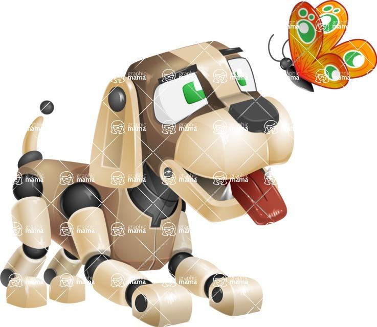 Futuristic Robot Dog Cartoon Vector Character AKA Barkey McRobot - Butterfly