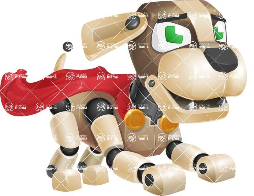 Futuristic Robot Dog Cartoon Vector Character AKA Barkey McRobot - Super Dog