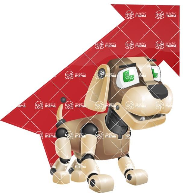 Futuristic Robot Dog Cartoon Vector Character AKA Barkey McRobot - Arrow