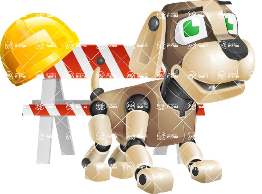 Futuristic Robot Dog Cartoon Vector Character AKA Barkey McRobot - Dog Worker 1