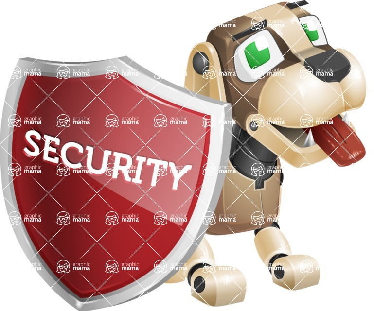 Futuristic Robot Dog Cartoon Vector Character AKA Barkey McRobot - Protect 1