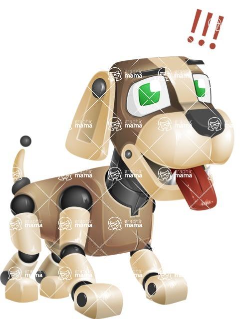 Futuristic Robot Dog Cartoon Vector Character AKA Barkey McRobot - Attention