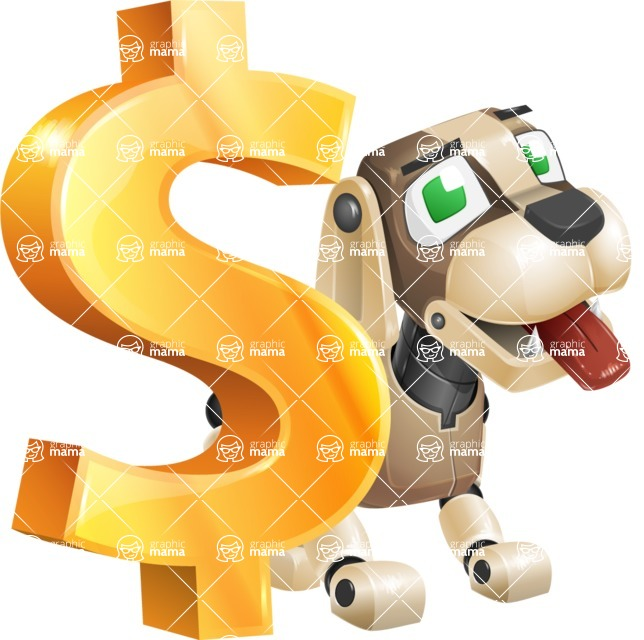 Futuristic Robot Dog Cartoon Vector Character AKA Barkey McRobot - Dollar