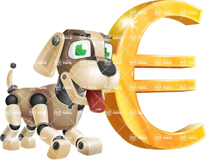 Futuristic Robot Dog Cartoon Vector Character AKA Barkey McRobot - Euro