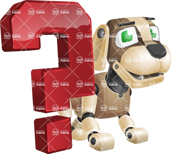 Futuristic Robot Dog Cartoon Vector Character AKA Barkey McRobot - Question