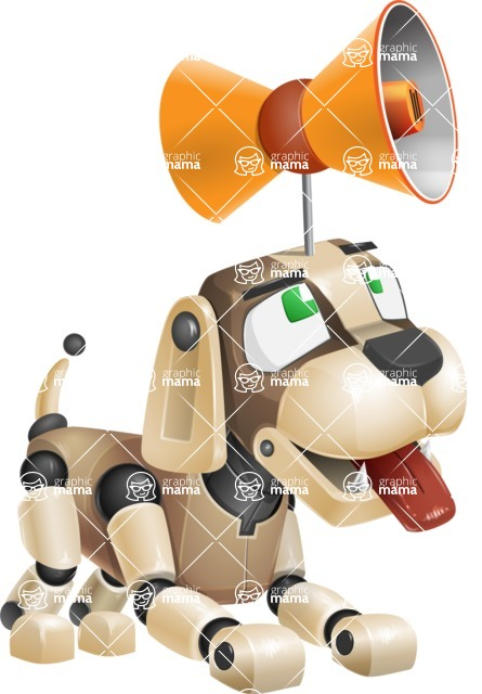 Futuristic Robot Dog Cartoon Vector Character AKA Barkey McRobot - Loudspeaker