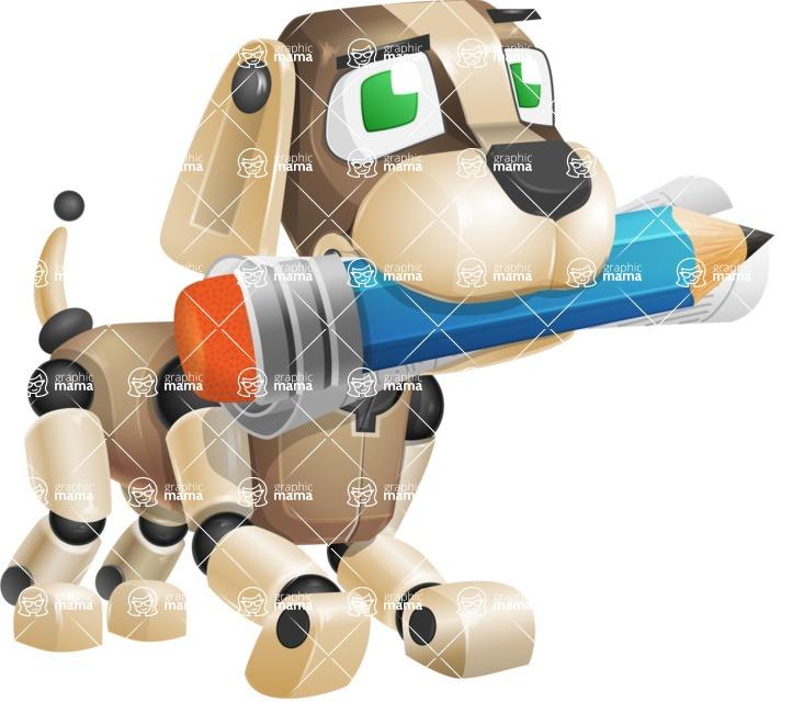 Futuristic Robot Dog Cartoon Vector Character AKA Barkey McRobot - Pencil