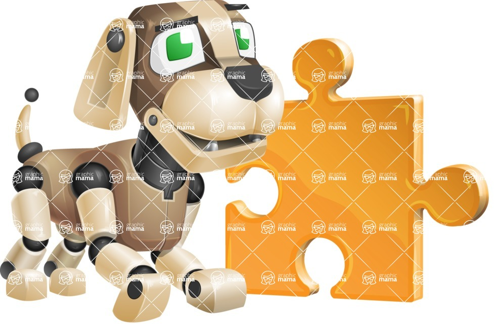 Futuristic Robot Dog Cartoon Vector Character AKA Barkey McRobot - Puzzle