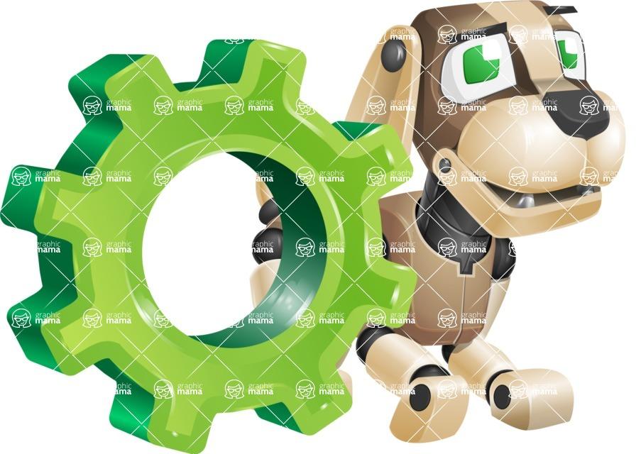 Futuristic Robot Dog Cartoon Vector Character AKA Barkey McRobot - Gear
