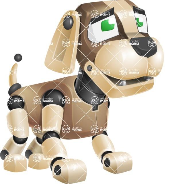 Futuristic Robot Dog Cartoon Vector Character AKA Barkey McRobot - Sad