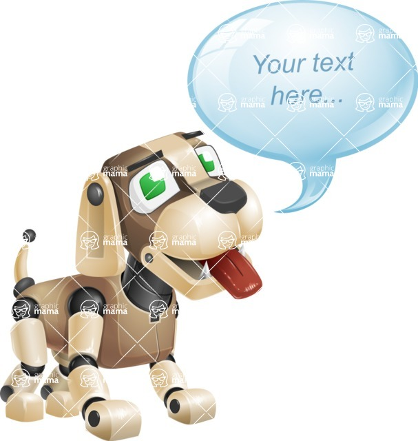Futuristic Robot Dog Cartoon Vector Character AKA Barkey McRobot - Text Bubble
