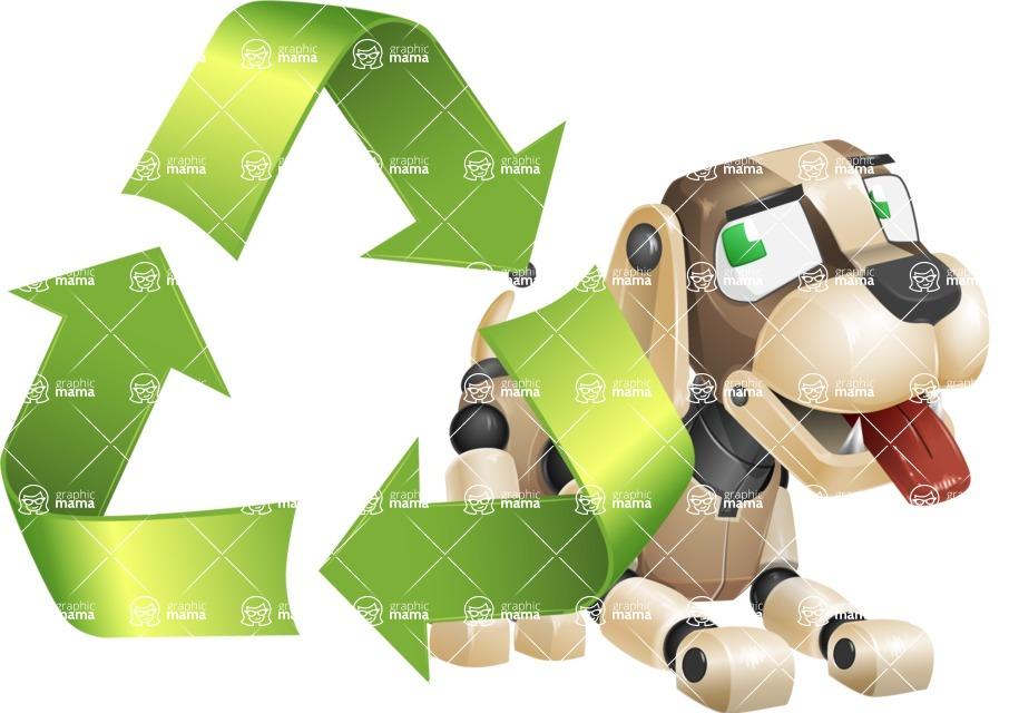 Futuristic Robot Dog Cartoon Vector Character AKA Barkey McRobot - Recycling