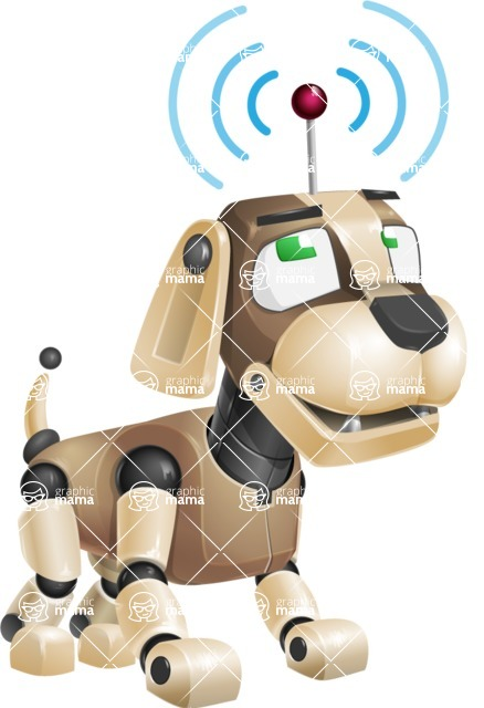 Futuristic Robot Dog Cartoon Vector Character AKA Barkey McRobot - Wi-Fi