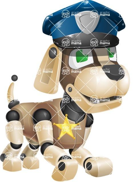Futuristic Robot Dog Cartoon Vector Character AKA Barkey McRobot - Police Dog