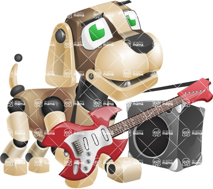 Futuristic Robot Dog Cartoon Vector Character AKA Barkey McRobot - Music