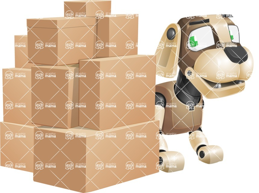 Futuristic Robot Dog Cartoon Vector Character AKA Barkey McRobot - Delivery 2