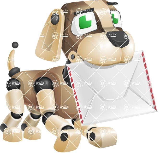 Futuristic Robot Dog Cartoon Vector Character AKA Barkey McRobot - Dog Postman