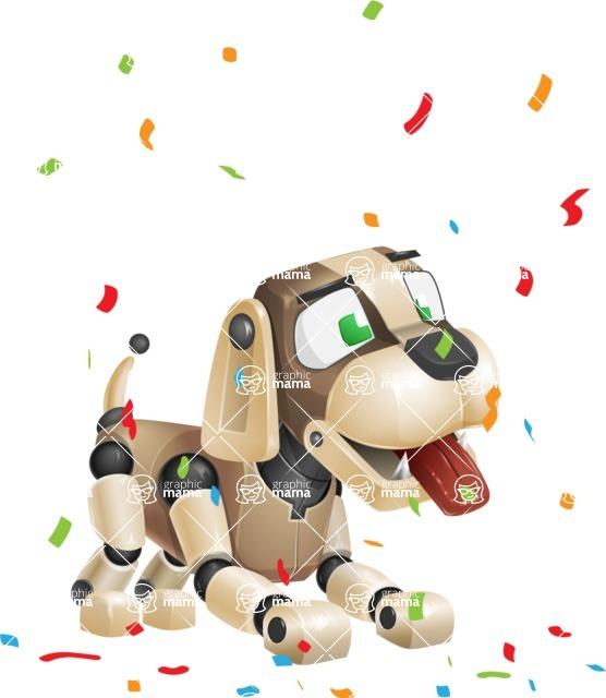 Futuristic Robot Dog Cartoon Vector Character AKA Barkey McRobot - Party