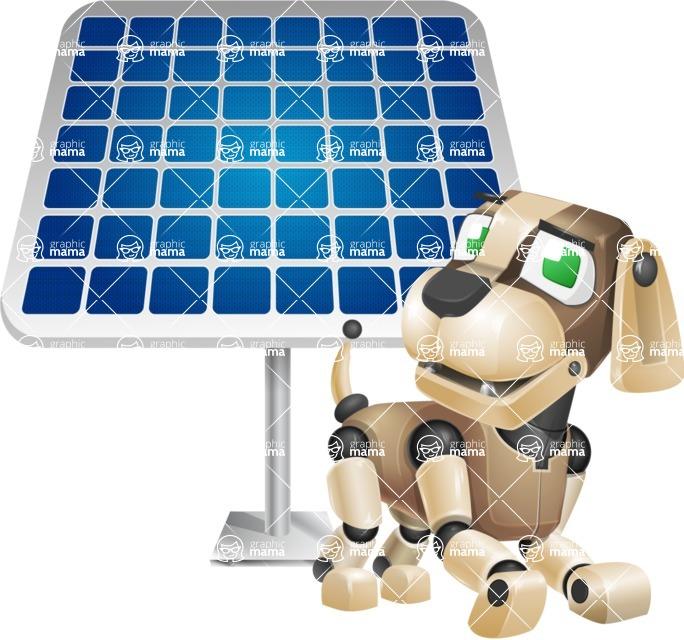 Futuristic Robot Dog Cartoon Vector Character AKA Barkey McRobot - Solar Panel