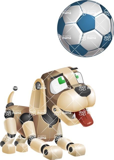 Futuristic Robot Dog Cartoon Vector Character AKA Barkey McRobot - Soccer