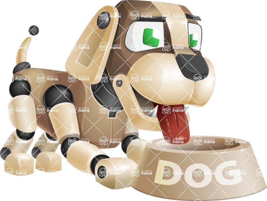 Futuristic Robot Dog Cartoon Vector Character AKA Barkey McRobot - Doggy Dish