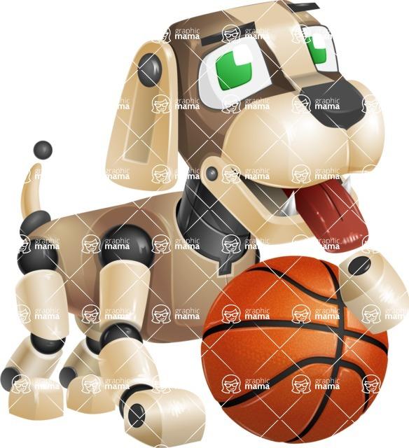 Futuristic Robot Dog Cartoon Vector Character AKA Barkey McRobot - Basketball