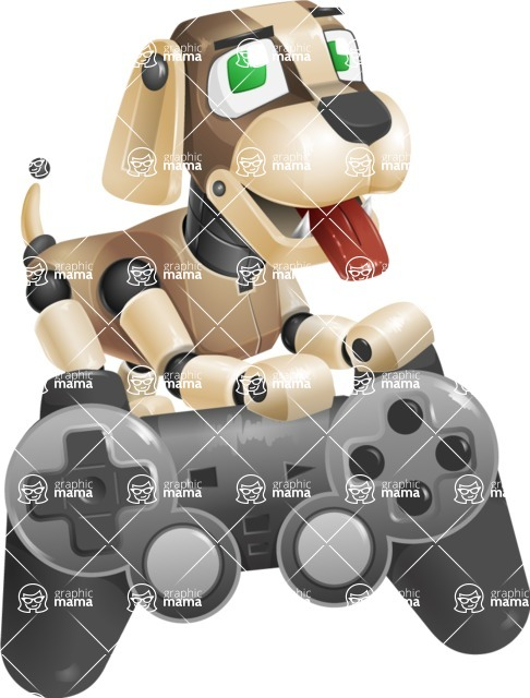 Futuristic Robot Dog Cartoon Vector Character AKA Barkey McRobot - Game