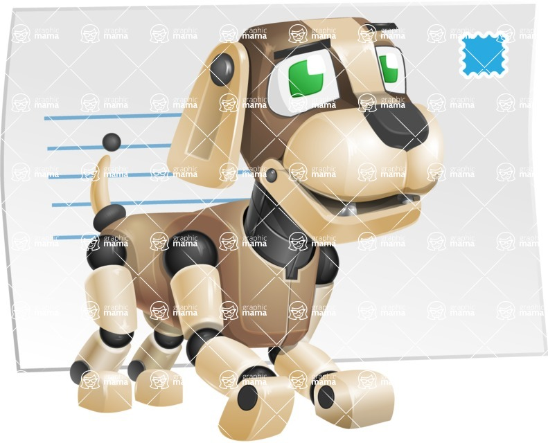 Futuristic Robot Dog Cartoon Vector Character AKA Barkey McRobot - Mail