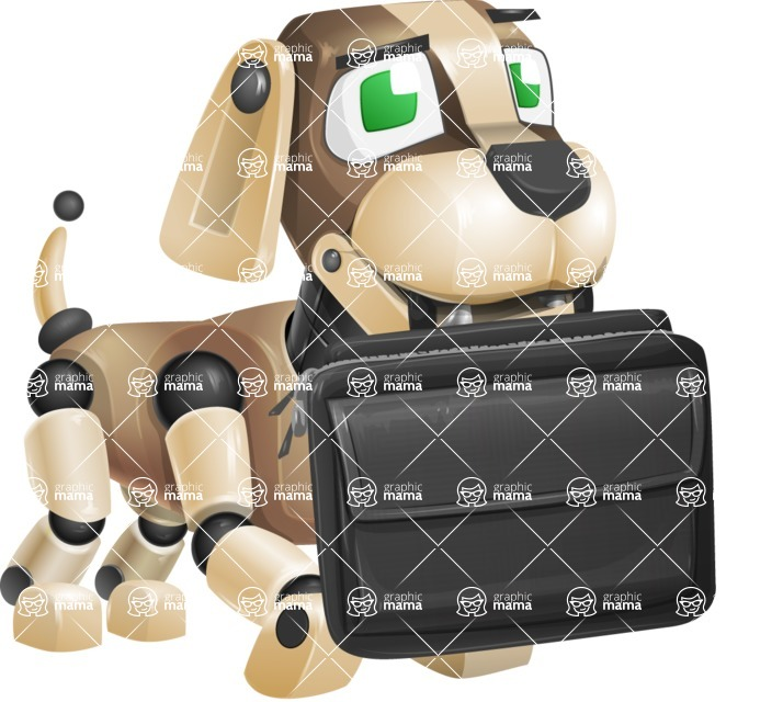 Futuristic Robot Dog Cartoon Vector Character AKA Barkey McRobot - Briefcase