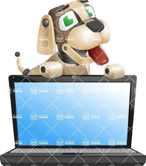 Futuristic Robot Dog Cartoon Vector Character AKA Barkey McRobot - Laptop