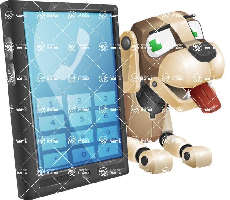 Futuristic Robot Dog Cartoon Vector Character AKA Barkey McRobot - Phone