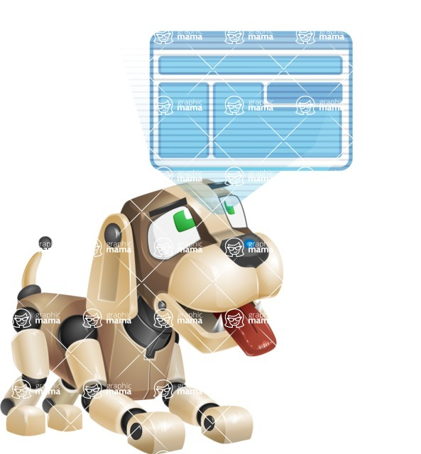 Futuristic Robot Dog Cartoon Vector Character AKA Barkey McRobot - Multimedia