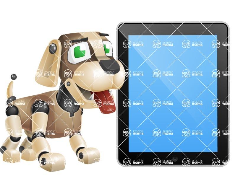 Futuristic Robot Dog Cartoon Vector Character AKA Barkey McRobot - iPad 1