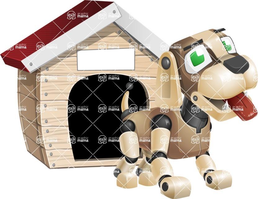 Futuristic Robot Dog Cartoon Vector Character AKA Barkey McRobot - Doggy House