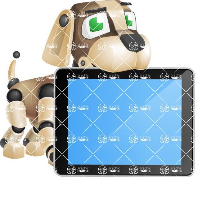 Futuristic Robot Dog Cartoon Vector Character AKA Barkey McRobot - iPad 2