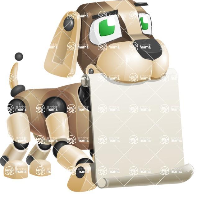 Futuristic Robot Dog Cartoon Vector Character AKA Barkey McRobot - Sign 1