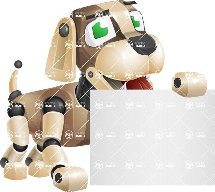 Futuristic Robot Dog Cartoon Vector Character AKA Barkey McRobot - Sign 2