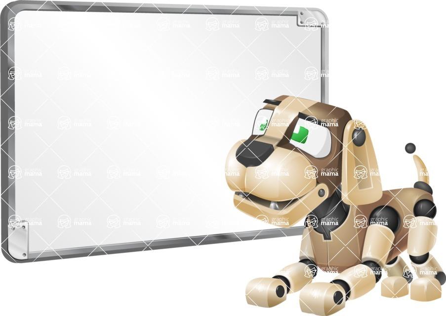 Futuristic Robot Dog Cartoon Vector Character AKA Barkey McRobot - Presentation 1
